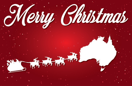 A Merry Christmas Illustration with Santa landing in the Country of Australia