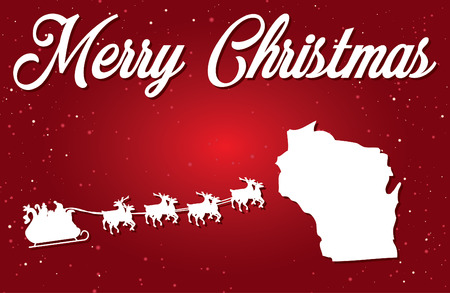 A Merry Christmas Illustration with Santa landing in the State of Wisconsin