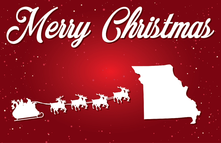 A Merry Christmas Illustration with Santa landing in the State of Missouri