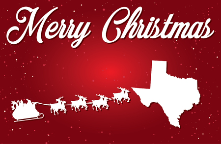 A Merry Christmas Illustration with Santa landing in the State of Texas