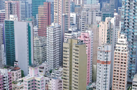 Cropped, colour shot of high density office and residential buildings on Hong Kong island