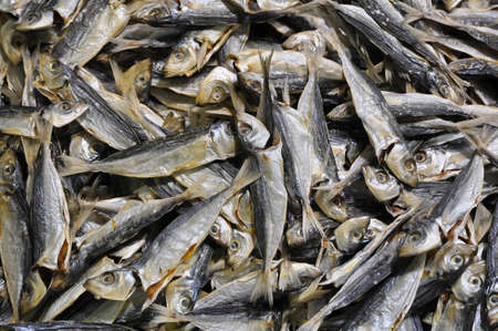 Group of small dried fish shot at a seafood market, Cheung Chau, Hong Kong photo