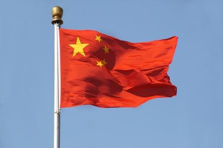 천안문 광장, 베이징에서 촬영 맑고 푸른 하늘을 플래그 기둥에 중국 국기
