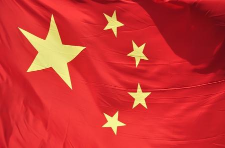 바람에 펄럭이 실제 중국의 국기의 근접