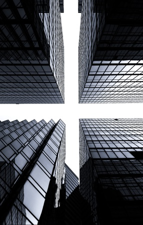 black and white image of glass skyscrapers forming crossroads in the sky Stock Photo