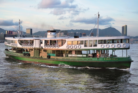 wan: Hong Kong Star Ferry arriving at Wan Chai ferry Pier