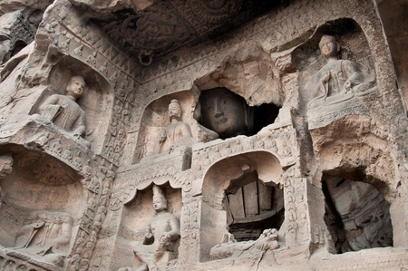 buddhas: Carved buddhas at the Yungang Caves, Datong Stock Photo
