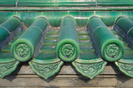 Green tiles with dragon detail, Temple of Heaven, Beijing