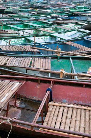 tam: Moored Rowing Boats at Tam Coc, Ninh Binh, Vietnam
