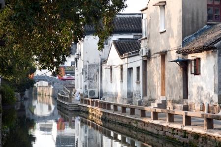 Pingjianglu、中国蘇州市に早朝