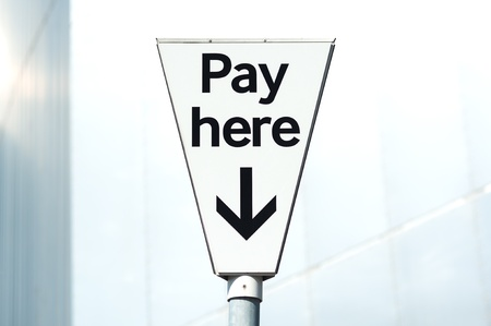 Pay and display,  Pay Here  carpark sign