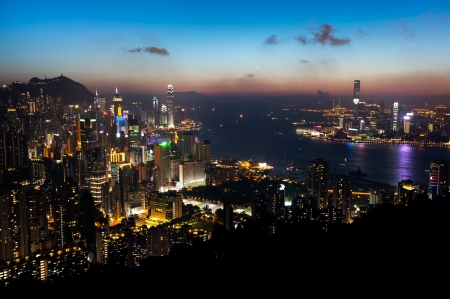 View of Hong Kong Island and Victoria Harbour at sunset Editorial