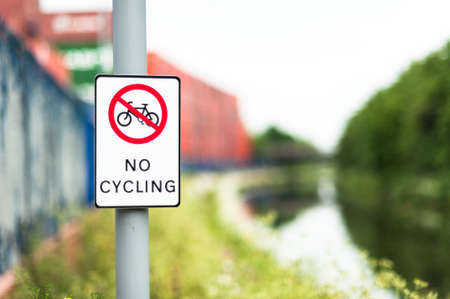 No cycling sign next to canal path