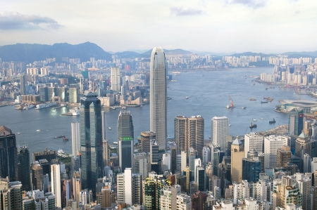 Hong Kong seen from Lugard Road on the Peak Stock Photo