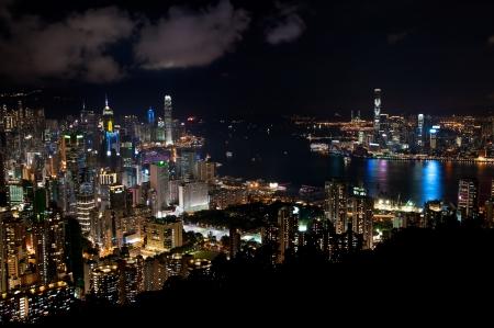 Hong Kong cityscape at night 스톡 사진