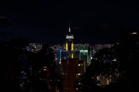 Central Plaza illuminated at night, Hong Kong Island