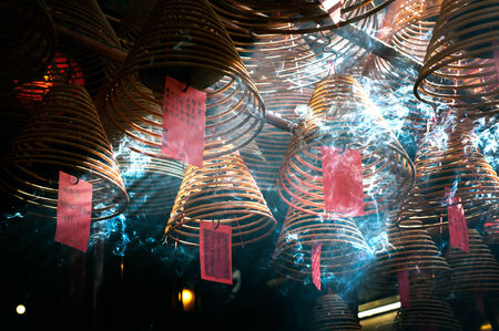 mococa: Incense coils hang from the ceiling of Man Mo Temple, Hong Kong Island