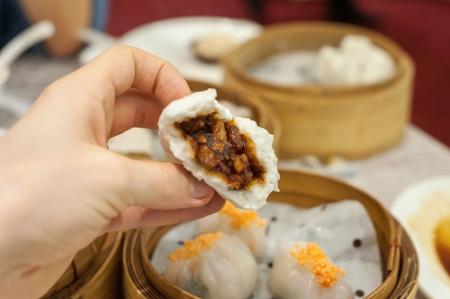 Cha Siu Bao barbequed pork bun at Hong Kong dim sum restaurant Stock Photo