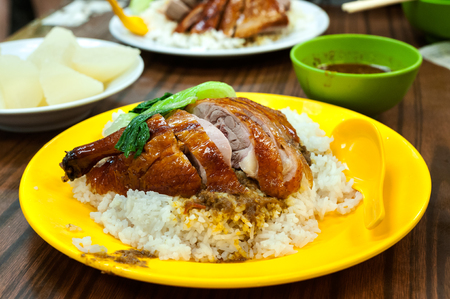 Roast duck with rice at a local Hong Kong restaurant
