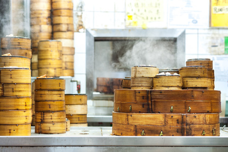 Stacked dim sum steamers at a Hong Kong restaurant