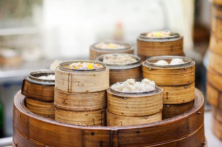 kong: Dim sum steamers at a Chinese restaurant, Hong Kong Stock Photo