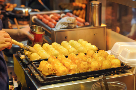 asia food: Japanese Octopus Balls at Hong Kong Street Food Stall Stock Photo