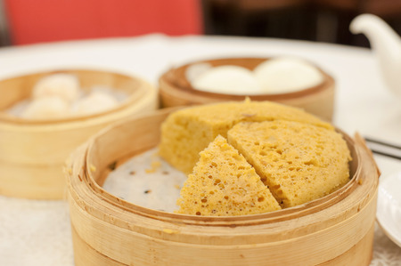 sponge cake: Ma Lai Gao, also known as Malay cake, served at a Hong Kong dim sum restaurant