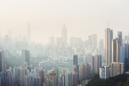 environmental issues: Air pollution hangs over the Happy Valley district of Hong Kong Island