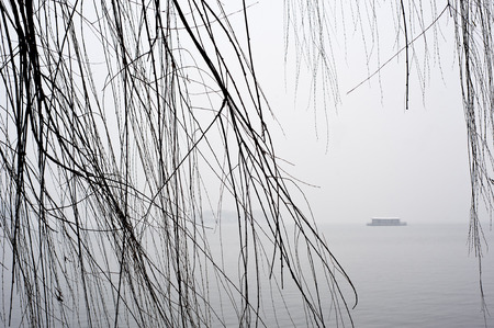 Willow tree and tourist boat, West Lake in winter, Hangzhou photo