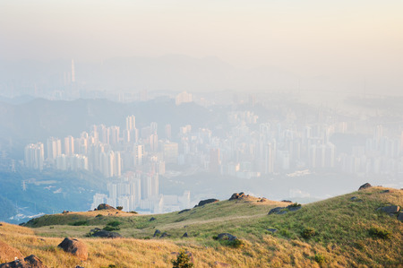Hong Kong obscured by air pollution, as seen from the Kowloon hills