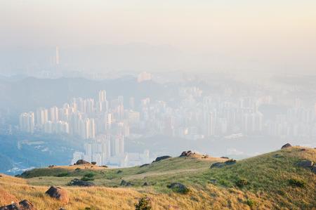 contaminacion aire: Hong Kong oculto por la contaminaci�n del aire, como se ha visto desde las colinas de Kowloon