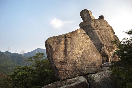 country park: Amah Rock in Lion Park Country Rock, Hong Kong Foto de archivo