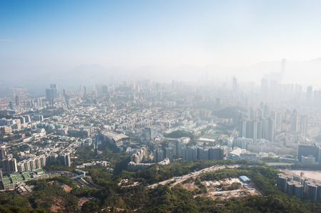 View of the polluted Hong Kong cityscape from Beacon Hill, Kowloon Stock Photo