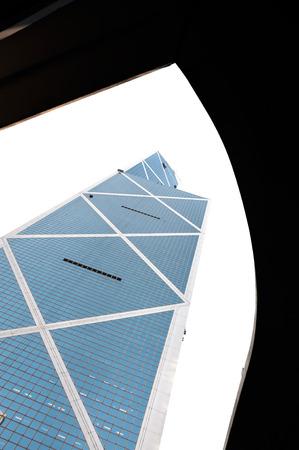 Hong Kong landmark the Bank of China Tower framed by a flyover