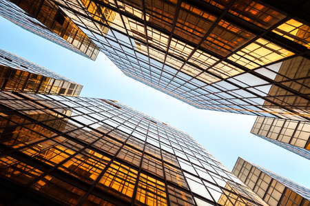 Glass skyscrapers in perspective, Hong Kong Stock Photo