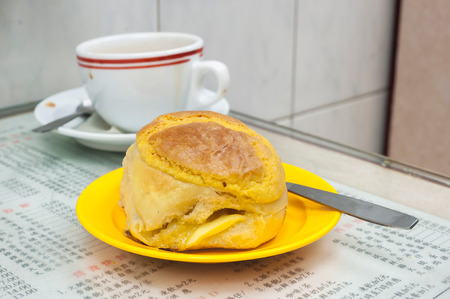Classic pineapple bun served at Hong Kong cafe