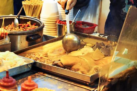 Boiling vat of offal at a Hong Kong street food stall