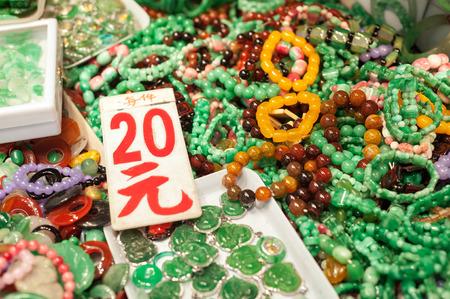 Jade jewelery at the Yaumatei jade market, Hong Kong