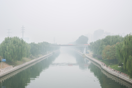 Severe air pollution in Beijing, China