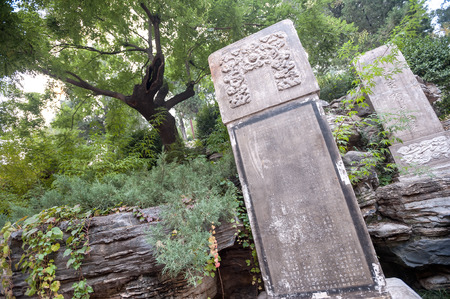 Tree and stele where the last emperor of the Ming Dynasty, Chongzhen, hanged himself in Jingshan Park, Beijing, China.