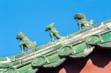 Traditional Chinese figures at the Lama Temple, Beijing