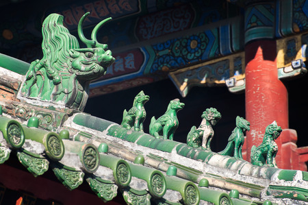 Traditional roof figurines at Beijings Lama Temple