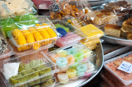 thai dessert: Collection of Thai desserts and sweets at a Bangkok market