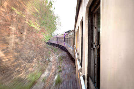 motion blur: Train on the move in Thailand, with motion blur