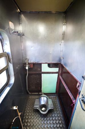 onboard: Inside the bathroom of an overnight train, Thailand