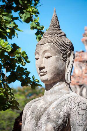 buddha statue: Closeup of a stone Buddha statue at Wat Mahathat temple, Ayutthaya, Thailand