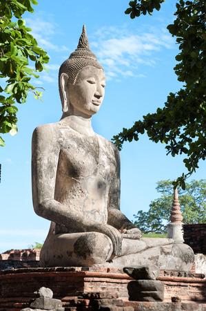 stone buddha: Large stone Buddha statue at Wat Mahathat, Ayutthaya, Thailand Stock Photo