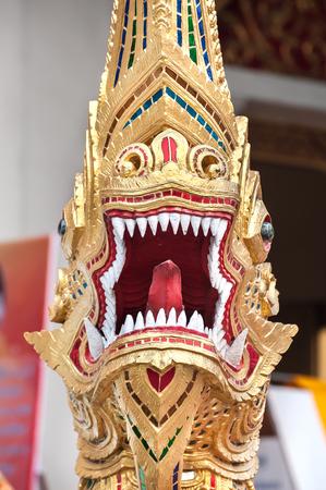 Naga Guardian at Wat Pra Singh, Chiang Mai, Thailand 스톡 사진