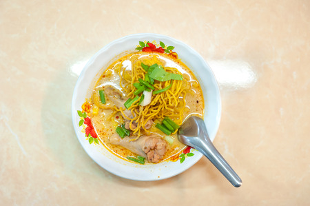 speciality: Chiang Mai speciality crispy noodles with chicken - khao soi gai