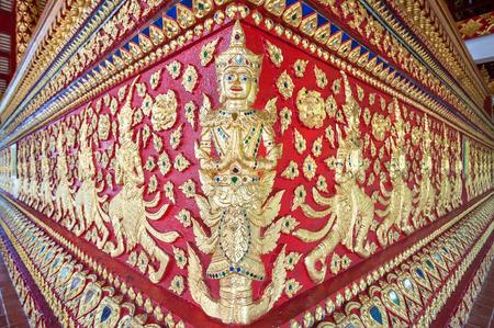Ornate base of the main altar at Wat Suan Dok, Chiang Mai, Thailand
